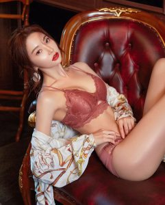 Park Soo Yeon – Maroon Red Gorgeous Lingerie