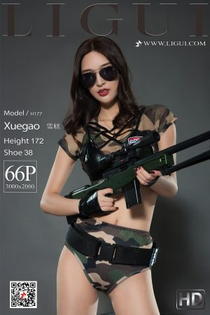 [Ligui 丽 柜] Online Beauty Ice Cream-Camouflage Female Soldier Stockings Beautiful Legs Photo