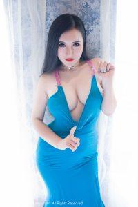 [XIUREN Xiuren.net] NO.807 MODEL Yi Ruo-blue beach skirt wet body temptation and white lace hemisphere round
