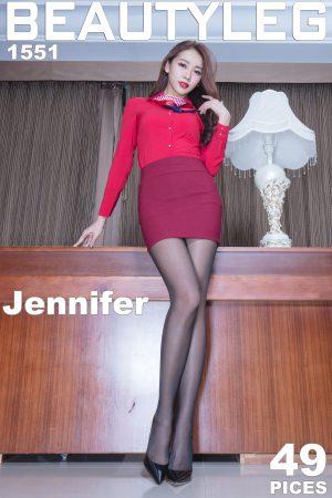 [BeautyLeg] No.1551 Jennifer-Upskirt uniform + stockings beautiful legs photo